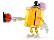 Perfume character pushing button. Isolated on white background. 3d illustration Stock Images