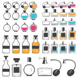 Perfume and cologne bottles set. Exclusive bottles with aromatic oils. Detailed elements Stock Photography