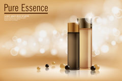 Perfume contained on bronze background with soft bokeh. Poster for the promotion of moisturizing and nourishing cosmetic Stock Images