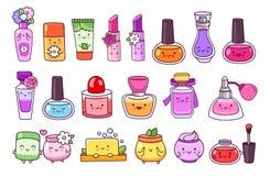 Perfume, cosméticos, verniz para as unhas, batom, brilho do bordo, frasco de creme, sabão e champô ilustração stock