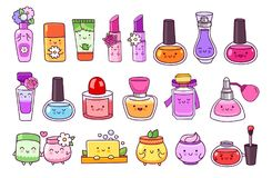 Perfume, cosmetics, nail polish, lipstick, lip gloss, cream jar, soap and shampoo. stock illustration