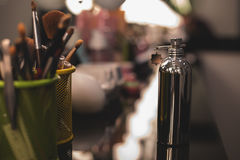 Perfume  with cosmetics tools. Perfume bottle with cosmetics tools Royalty Free Stock Photography