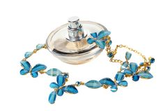 Perfume and costume jewellery Royalty Free Stock Photography