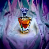 Perfume on dark purple silk. Square stock images