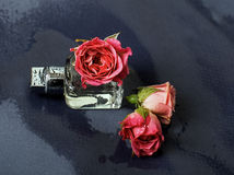 Perfume and delicate pink roses Royalty Free Stock Images