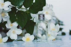 Perfume do pulverizador da mão do ` s das mulheres arranjo de flor imagem de stock