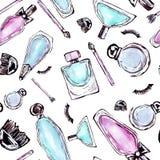 Perfume do teste padrão da aquarela ilustração stock
