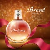 Perfume doce do aroma com fundo romântico do vetor do presente da fita de seda vermelha ilustração royalty free