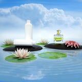 Perfume e flor nas pedras do preto na água fotografia de stock royalty free