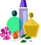 Perfume fijado al lado de las flores Fotos de archivo libres de regalías