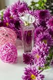 Perfume with floral scent. Perfume bottle and pink chrysanthemums on a white background stock photos