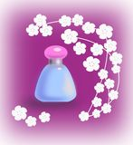 Perfume and  flowers. A blue bottle of perfume and white flowers Royalty Free Stock Image