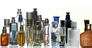 Perfume and fragrance bottles in panoama stock photography