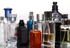 Perfume and fragrances bottles. Perfume and fragrances empty bottles in white background Royalty Free Stock Photo