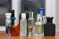 Perfume and fragrances bottles. Blurry background sharp resolution subject Stock Images