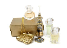 Perfume gift. Still life with golden box and perfume gift Stock Photo