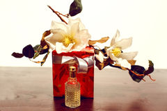 Perfume and gift box Stock Photography