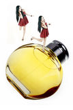 Perfume girls. Two happy perfume girls with their favorite perfume on white Royalty Free Stock Photography
