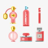 Perfume glamour fashionable beautiful cosmetic bottle female packaging tube vector illustration. Perfume glamour fashionable beautiful cosmetic bottle and Royalty Free Stock Images