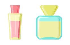 Perfume glamour fashionable beautiful cosmetic bottle and france shiny female packaging tube product female fragrance. Vector illustration. Perfumery femininity Stock Image