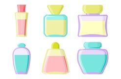 Perfume glamour fashionable beautiful cosmetic bottle and france shiny female packaging tube product female fragrance. Vector illustration. Perfumery femininity Royalty Free Stock Image