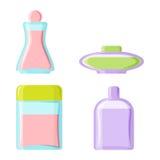 Perfume glamour fashionable beautiful cosmetic bottle and france shiny female packaging tube product female fragrance. Vector illustration. Perfumery femininity Royalty Free Stock Photography