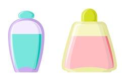 Perfume glamour fashionable beautiful cosmetic bottle and france shiny female packaging tube product female fragrance. Vector illustration. Perfumery femininity Stock Photos