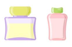 Perfume glamour fashionable beautiful cosmetic bottle and france shiny female packaging tube product female fragrance. Vector illustration. Perfumery femininity Stock Photo