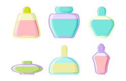Perfume glamour fashionable beautiful cosmetic bottle and france shiny female packaging tube product female fragrance. Vector illustration. Perfumery femininity Stock Images