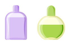 Perfume glamour fashionable beautiful cosmetic bottle and france shiny female packaging tube product female fragrance. Vector illustration. Perfumery femininity Royalty Free Stock Photos