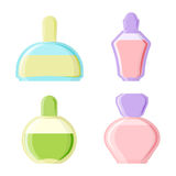 Perfume glamour fashionable beautiful cosmetic bottle and france shiny female packaging tube product female fragrance. Vector illustration. Perfumery femininity Royalty Free Stock Photo