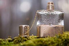 Perfume glass bottle - Organic bio alternative, natural royalty free stock photo