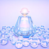 Perfume in a glass bottles and pearl beads on lilac. Royalty Free Stock Photography