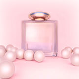 Perfume in a glass bottles and pearl beeds on light pink. Perfume in a glass bottles and pearl beeds on pink stock illustration