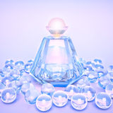 Perfume in a glass bottles and pearl beeds. Royalty Free Stock Image