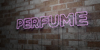 PERFUME - Glowing Neon Sign on stonework wall - 3D rendered royalty free stock illustration Stock Images
