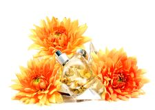 Perfume with golden flakes Stock Photos