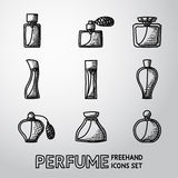 Perfume handdrawn icons set with different shapes Royalty Free Stock Photos