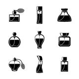 Perfume icons set with different shapes of bottles Royalty Free Stock Photography