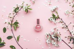 Perfume jar with apricot blossom stock photos