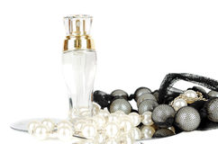 Perfume and jewelery Royalty Free Stock Photography