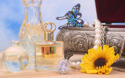 Perfume and Jewelry Royalty Free Stock Photo