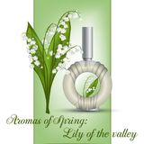 Perfume with lily of the valley aroma. Perfume with lily of the valley flowers aroma Stock Image