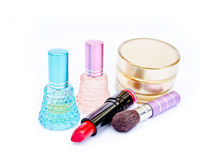 Perfume ,lipstick And Powder Stock Photos