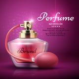 Perfume o fundo do vetor do produto com fragrância doce da mulher do aroma ilustração stock