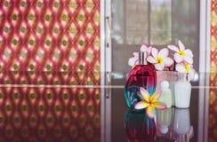 Perfume o parfume com o banho de chuveiro pequeno ou mini ajustado ou o champô Foto de Stock Royalty Free
