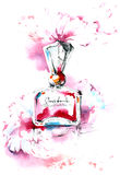 Perfume. Painting of floral fragrance perfume Royalty Free Stock Photo