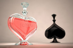 Perfume peaks and worms. Futuristic perfume bottle in the shape of a heart with the words I love you stock image