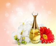Perfume. Scented bottle single flower flower smelling spice vector illustration