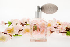 Perfume, pink bottle with cherry blossoms Stock Photos